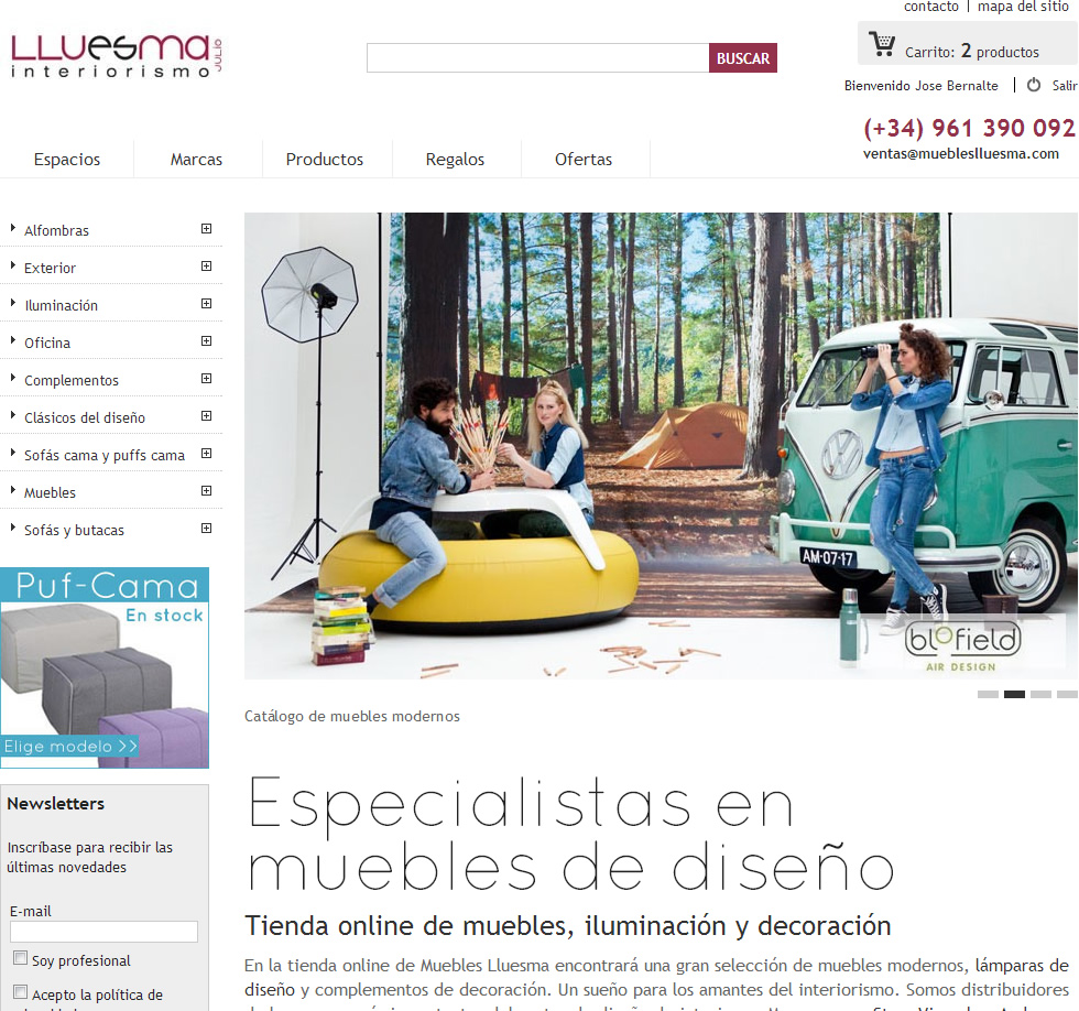 Dise o de p gina web venta online muebles lluesma jose for Muebles diseno outlet online
