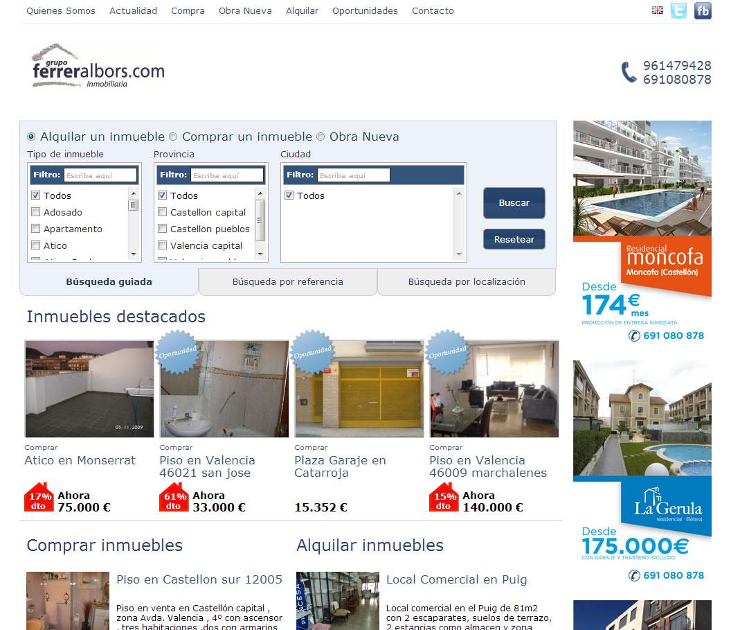 Diseño página web Grupo Ferrer Albors Home
