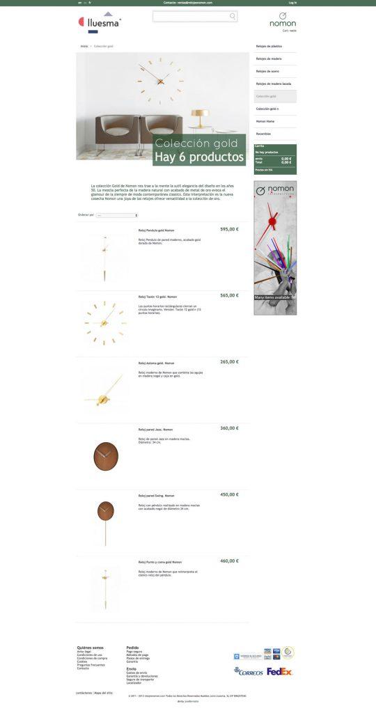 Diseño del listado de productos de la página