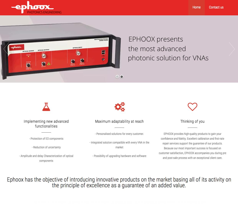 Diseño web y desarrollo de página web para ephoox Valencia