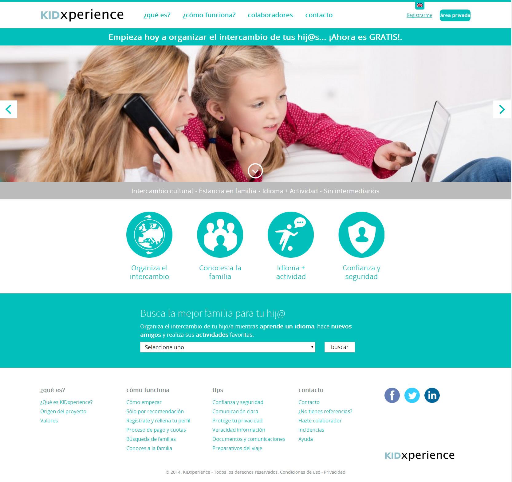 Diseño de página web KidXperience