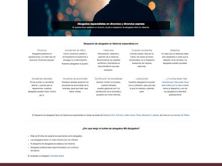 Página web corporativa MS Abogados en Valencia