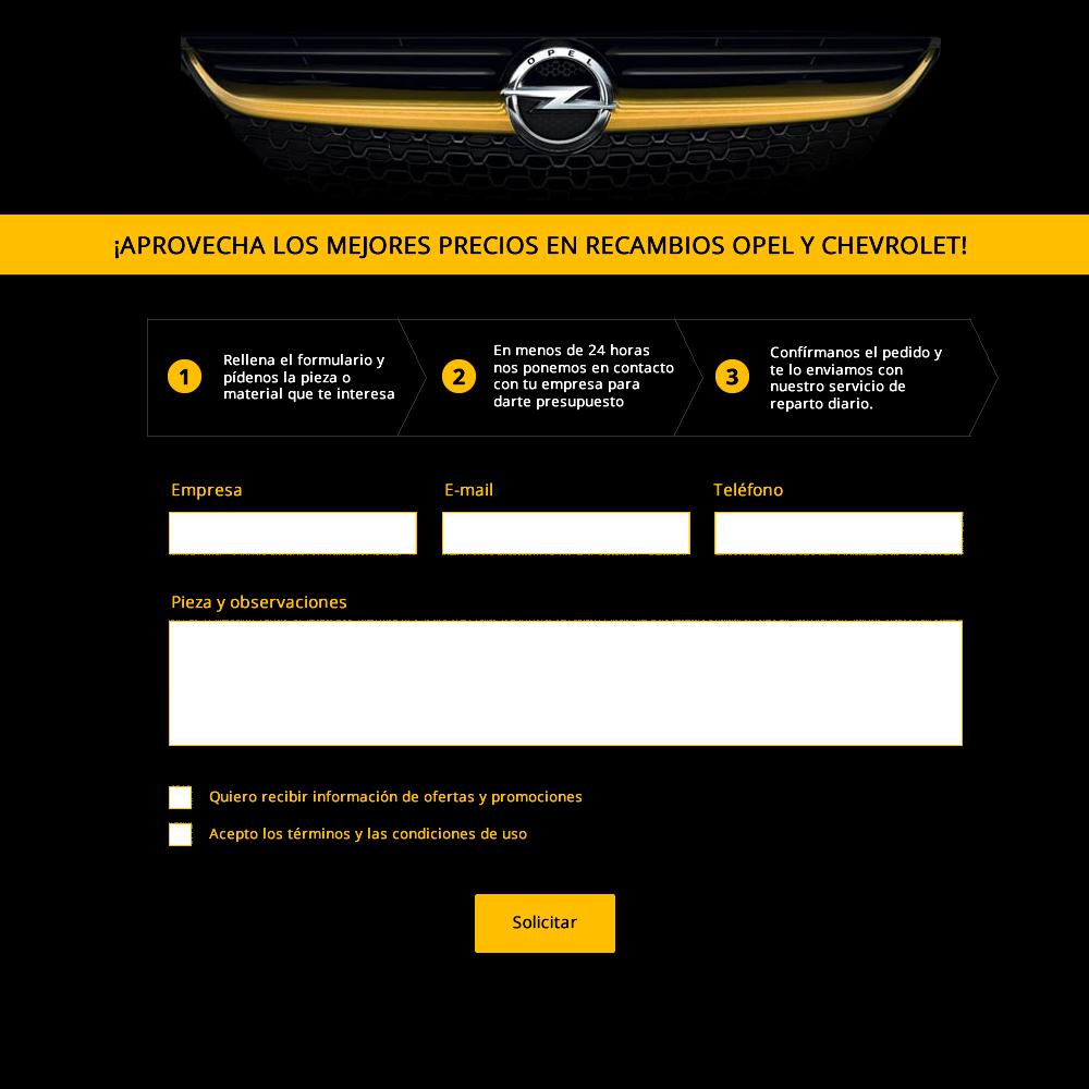 Diseño de formulario para Opel