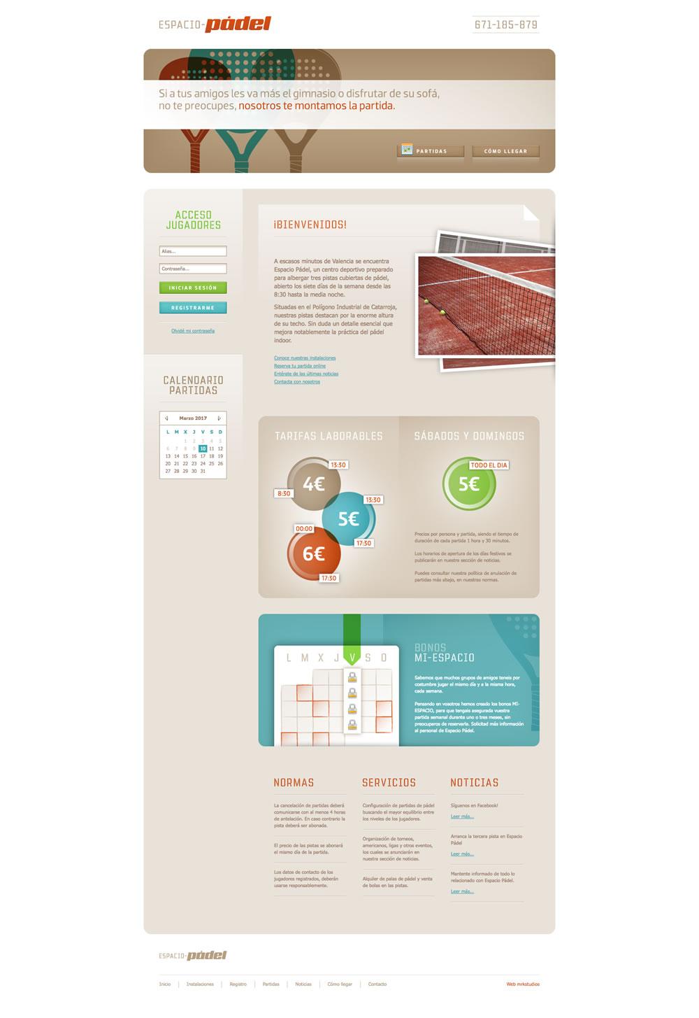 Diseño página web espacio pádel Home