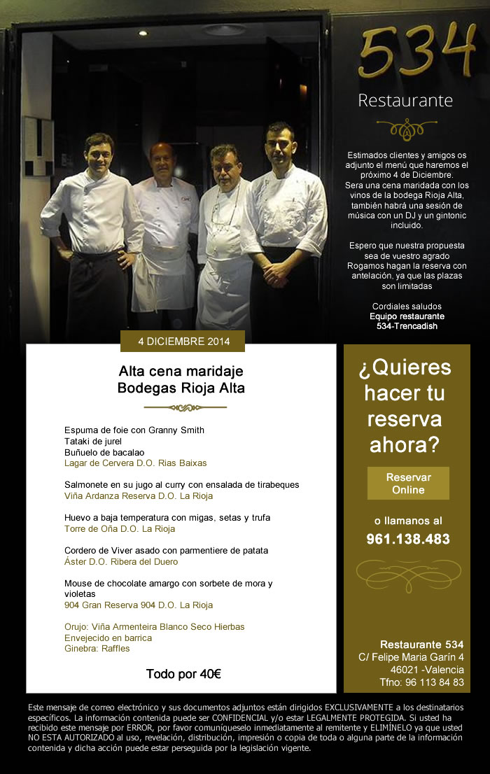 Diseño de newsletter para restaurante
