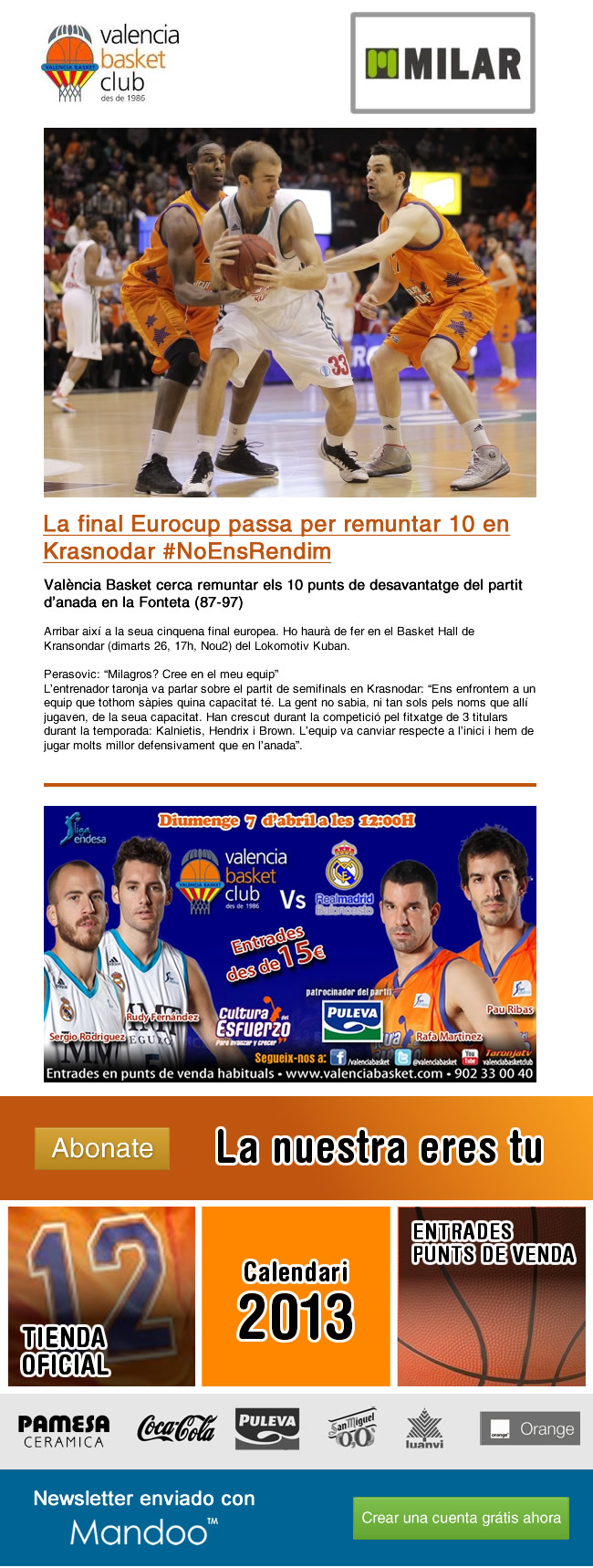 Diseño de newsletter para Valencia Basket
