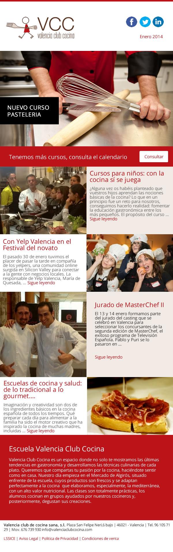 Dise o de newsletter para valencia club cocina cursos de - Valencia club de cocina ...
