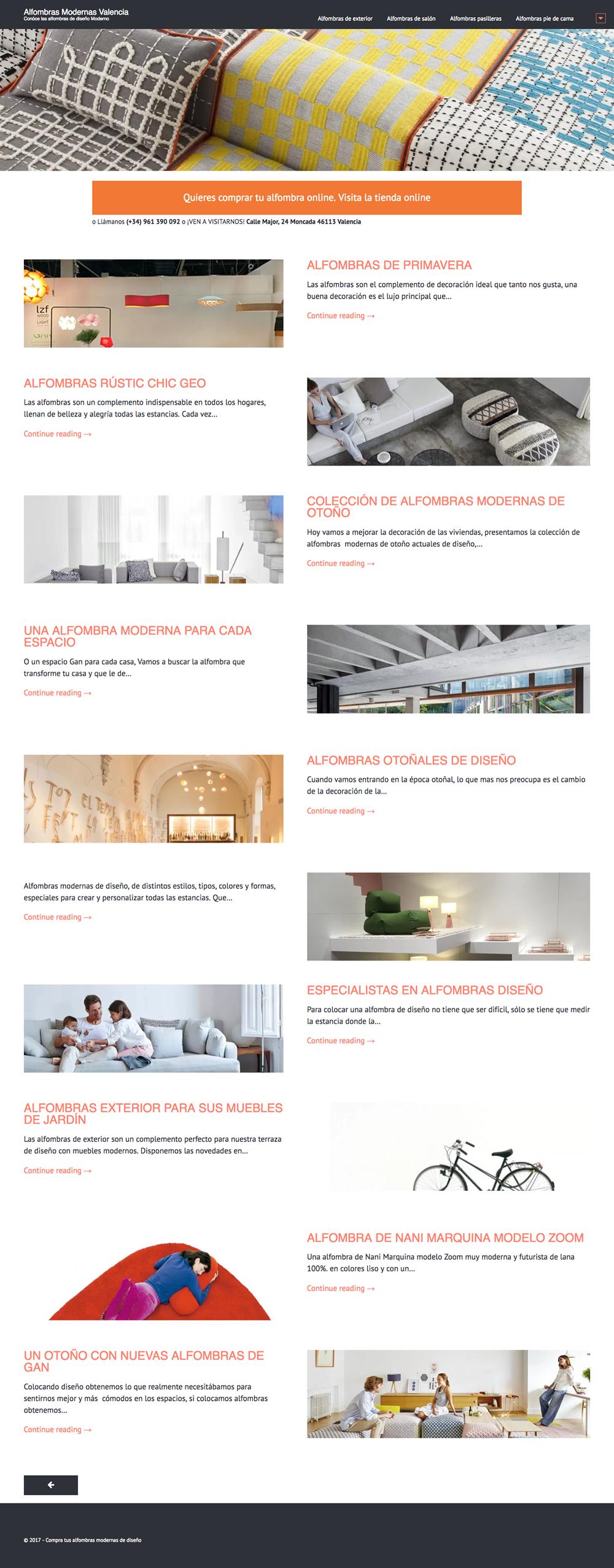 Desarrollo de blog para alfombras modernas de calidad