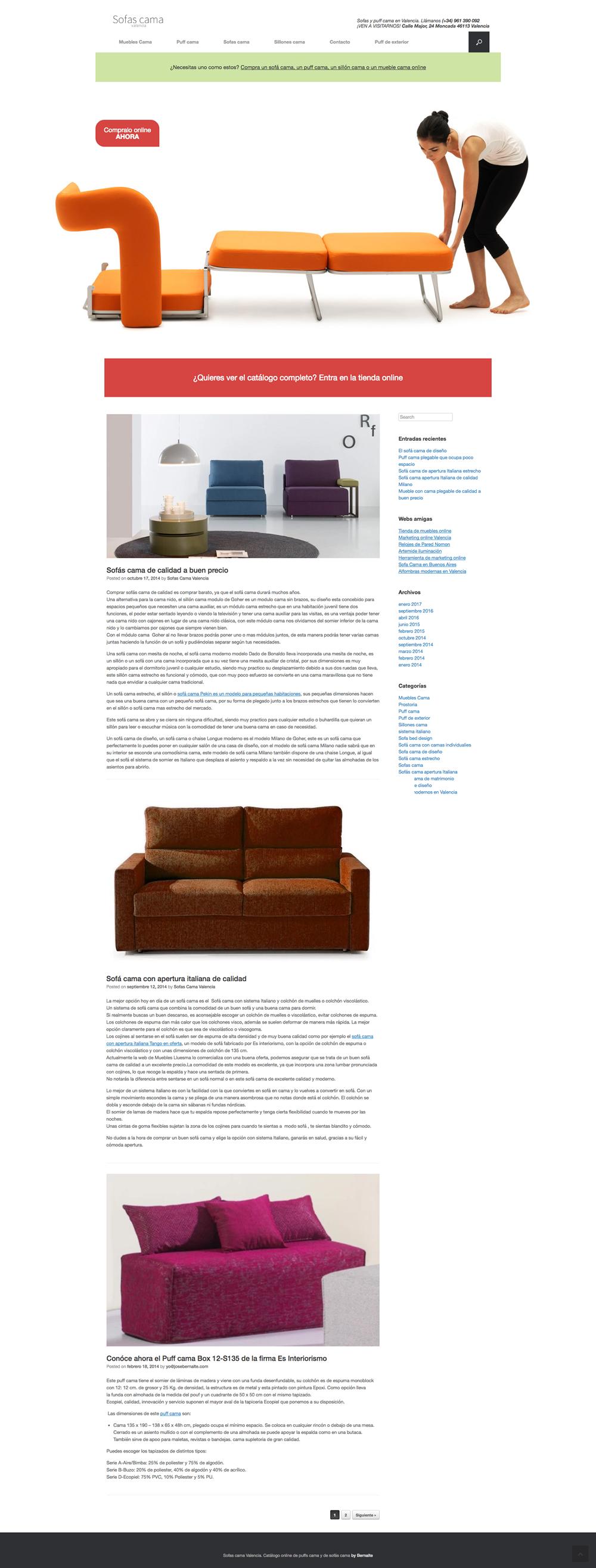 Desarrollo de blog para sofas y puff cama valencia