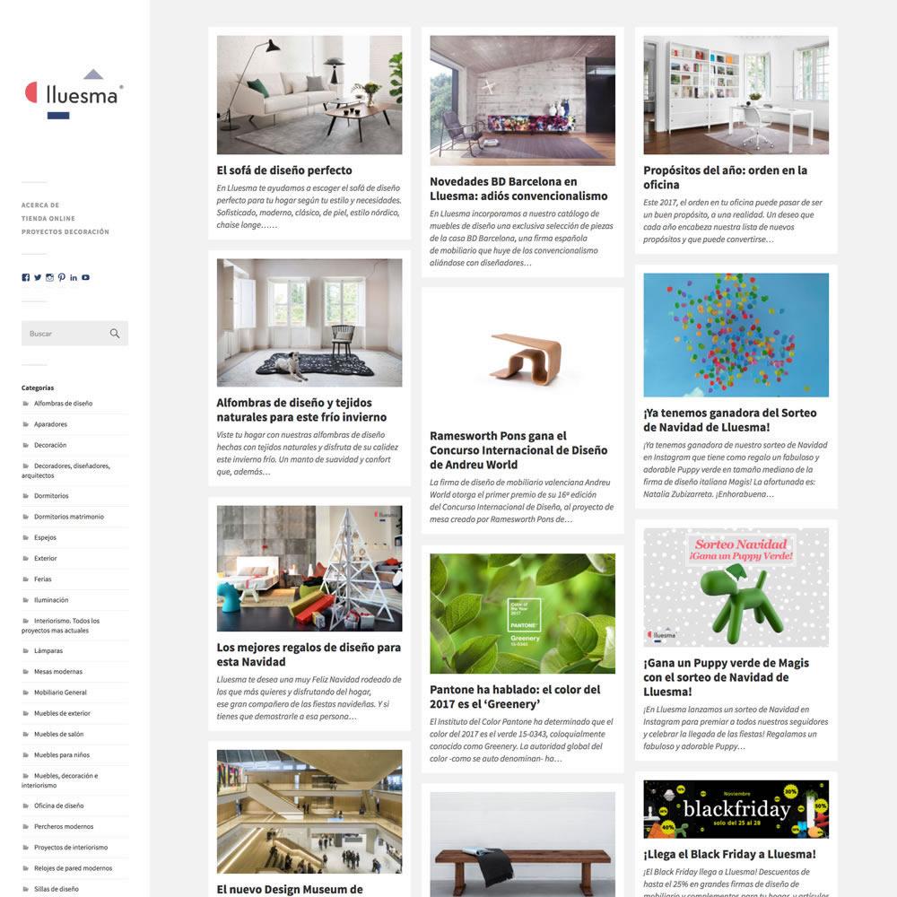 Desarrollo página principal del blog