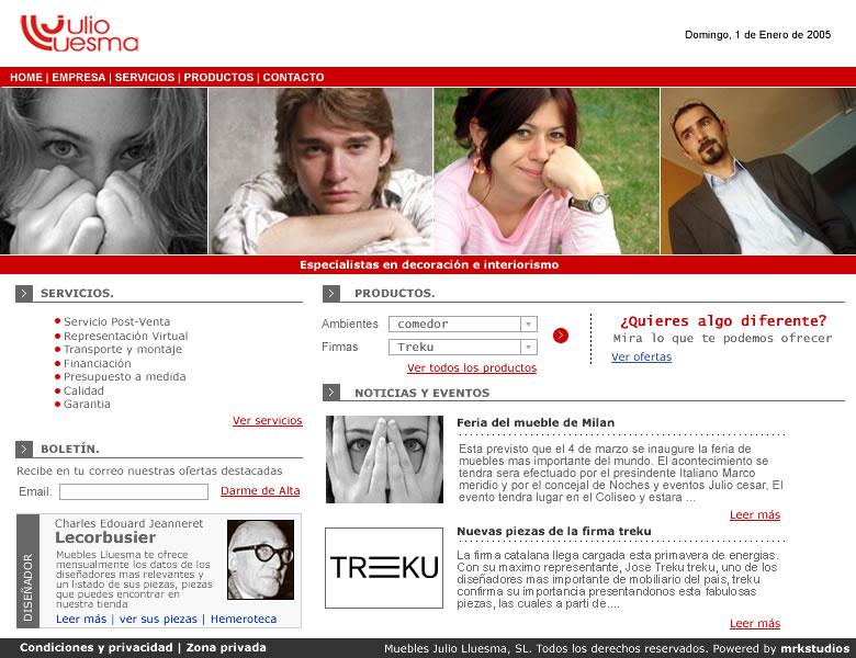 Diseño de la página web en 2005