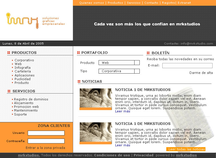 Diseño de página web mrkstudios