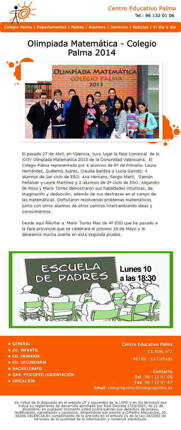 Diseño de newsletter para el centro educativo palma