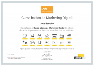 Certificado Curso Básico Marketing Digital