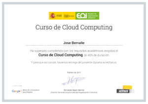 Certificado EOI Curso Cloud Computing