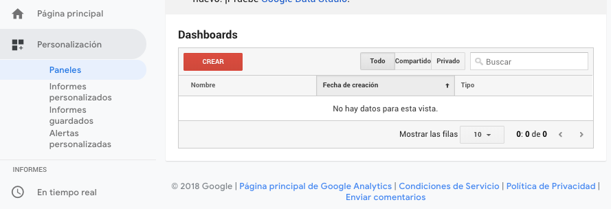 Crear Dashboard Google Analytics
