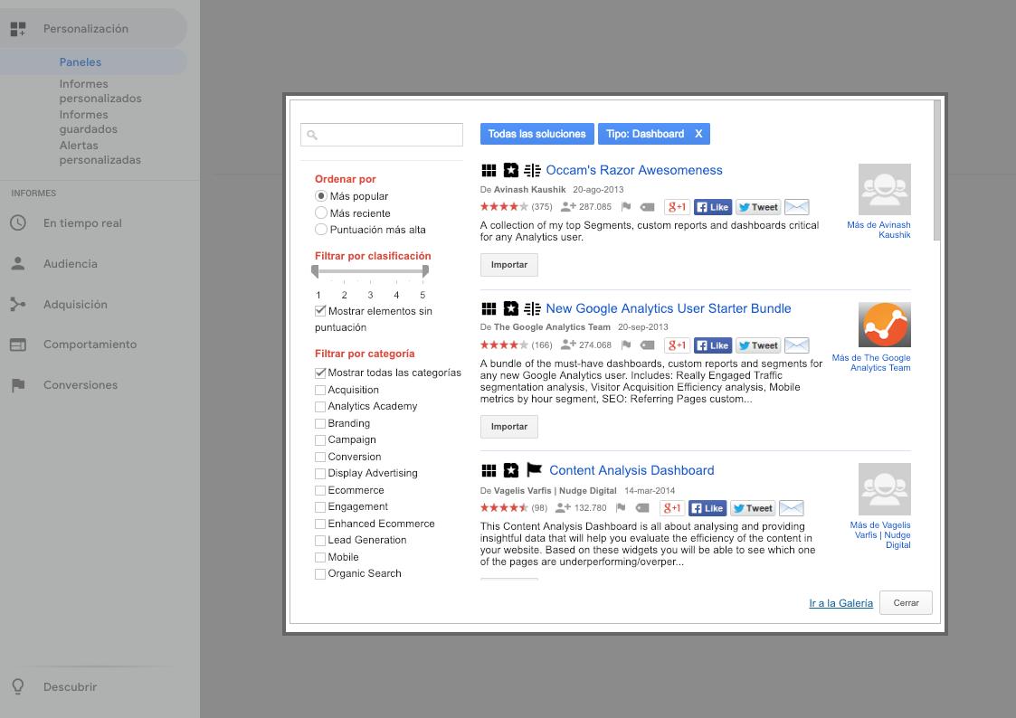 Importar desde galería de Google Analytics