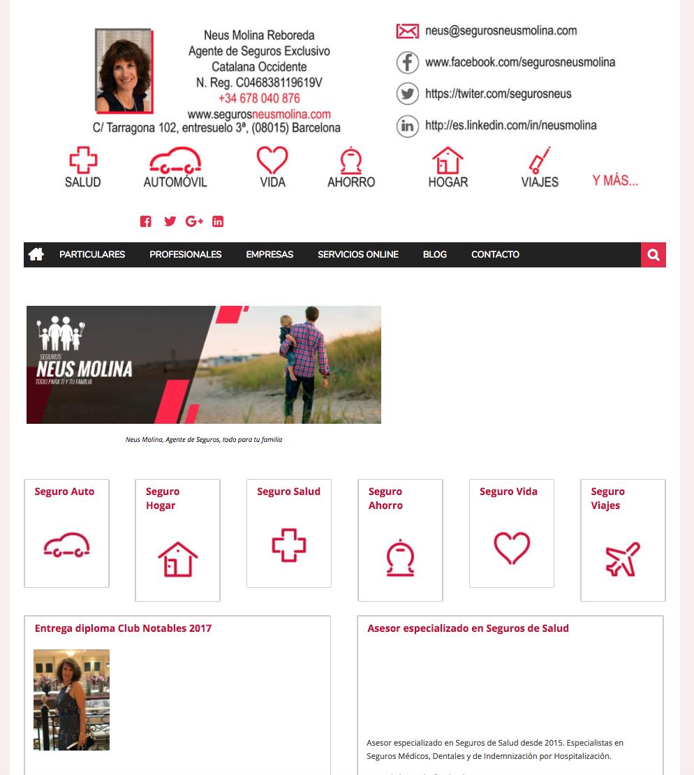Página web anterior de la empresa de seguros en Barcelona