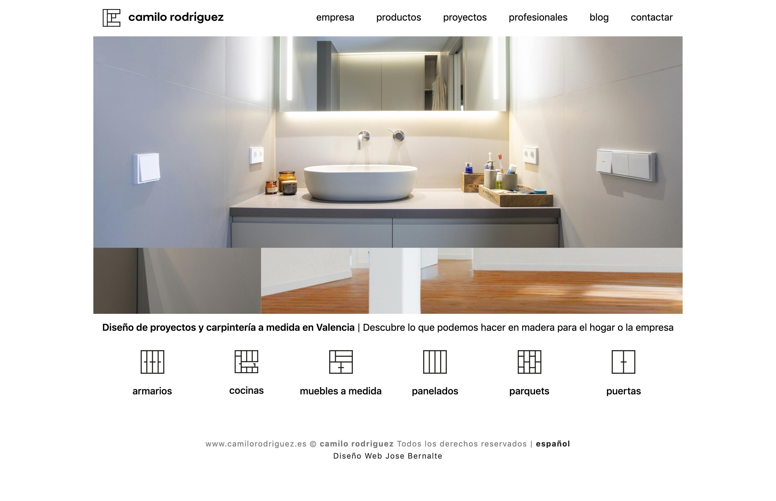 Diseño Web página carpintería Camilo Valencia