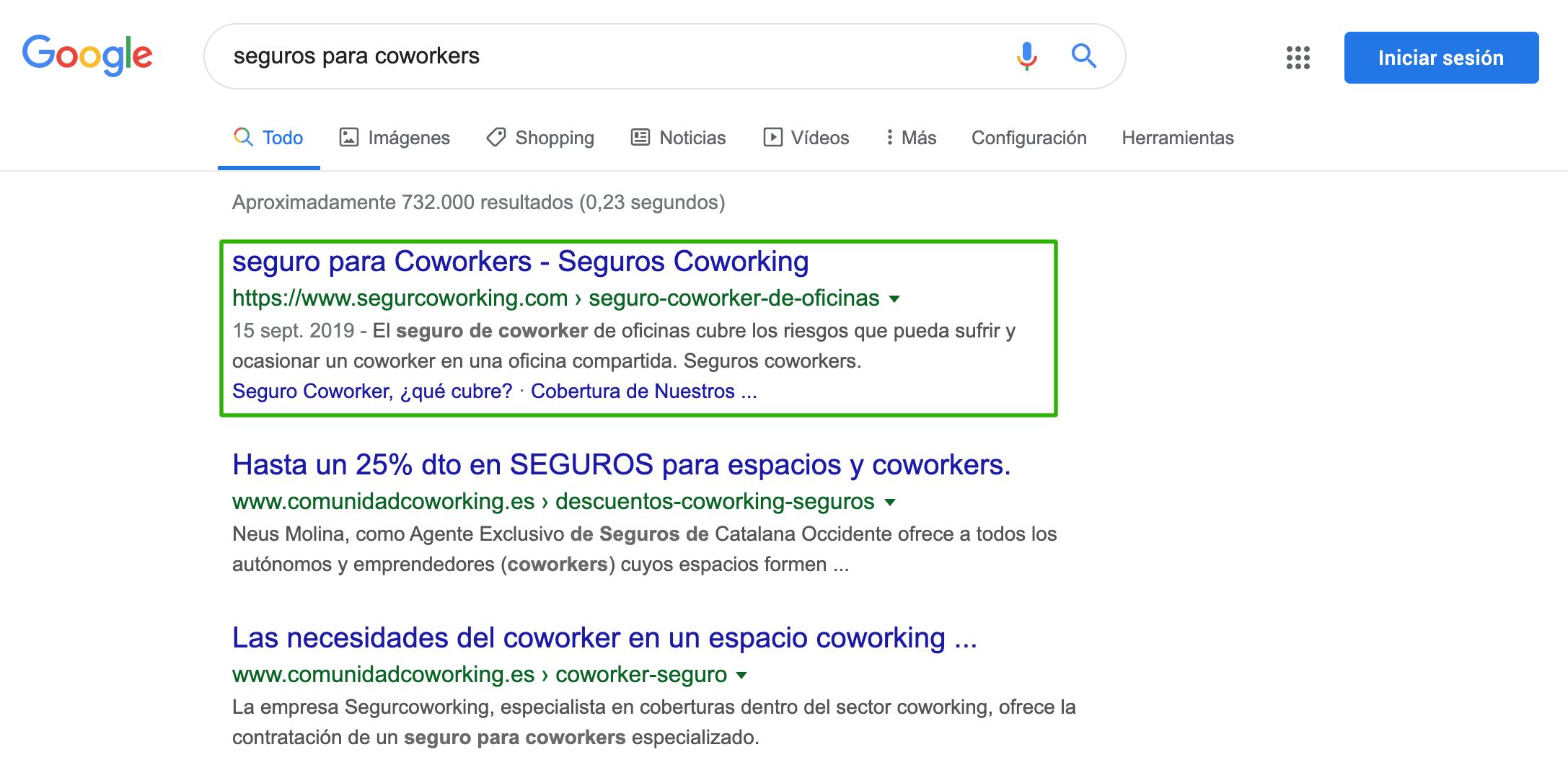Posicionamiento de keywork en Google