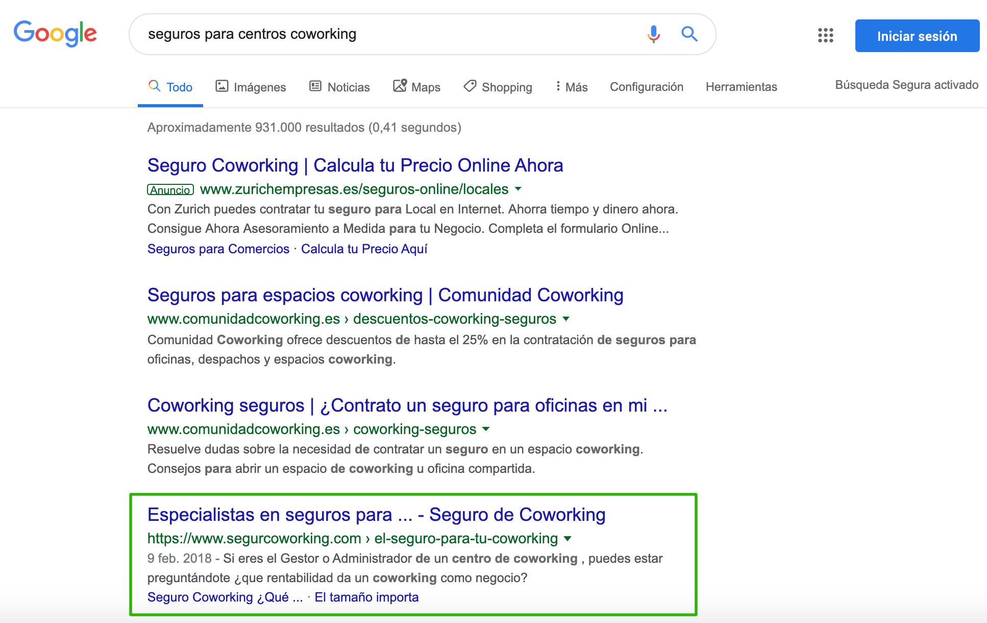 Posicionar en Google keyword seguros
