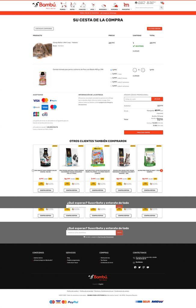 Carrito de la compra tienda online con Cross Selling