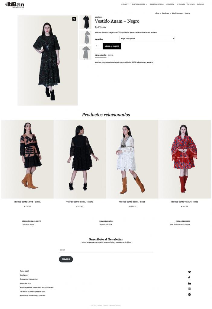 Ficha de producto de la página web ibban moda Boho