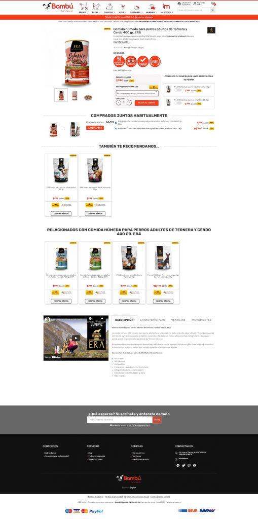 Ficha de Producto con tecnica de venta Up selling