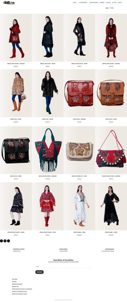 Listado de productos en Tienda Online ibban India Moda Boho